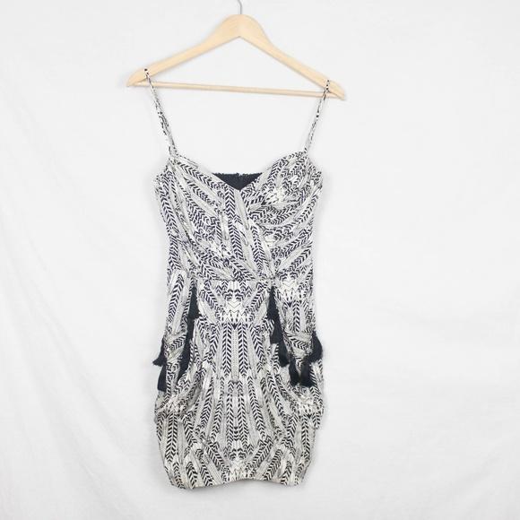 Mara Hoffman Dresses & Skirts - Mara Hoffman 0 Dress Feathers Tassels Chain Mini